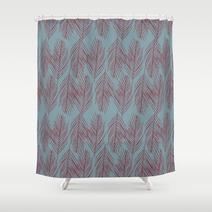 Buy Red Branches On Blue Shower Curtain By Blerta Worldwide