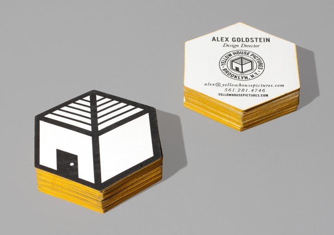 A.R.G. Alex Goldstein - yellow house pictures business card #letterpress