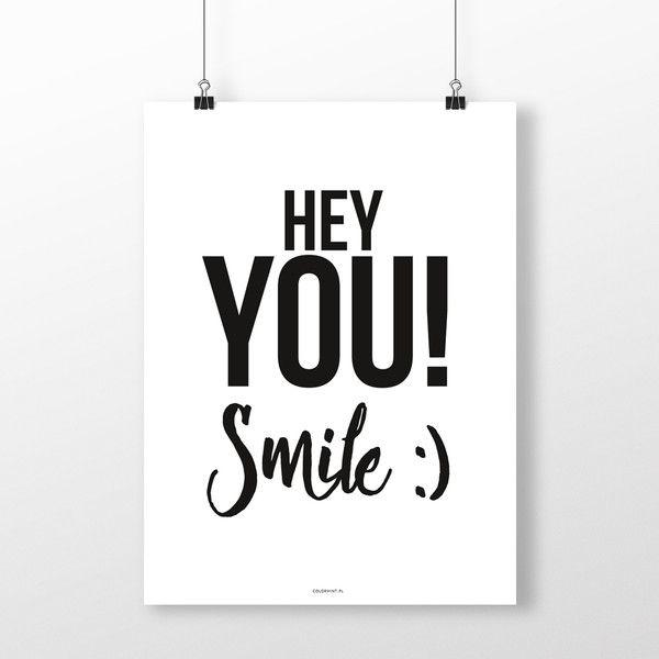 PLAKAT napisem: SMILE - 40x50 cm - colormint - Plakaty typograficzne