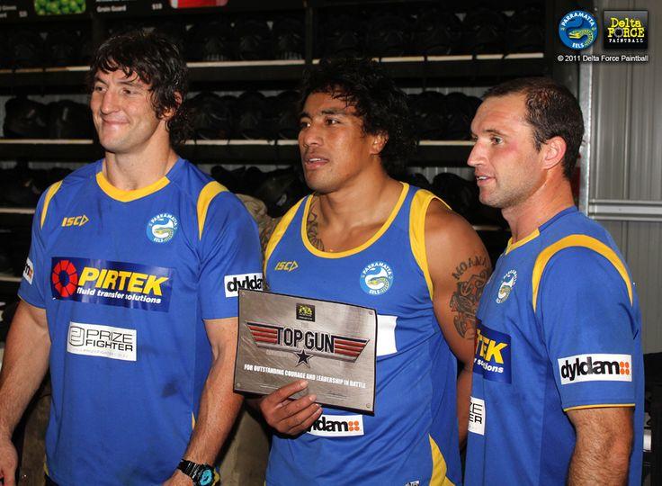Nathan Hindmarsh, Fui Fui Moi Moi and Luke Burt - Parramatta Eels #paintball #celebrities #deltaforcepaintball