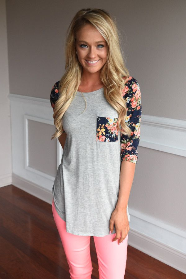 Grey Baseball Tee Navy Floral Sleeves Top – The Pulse Boutique