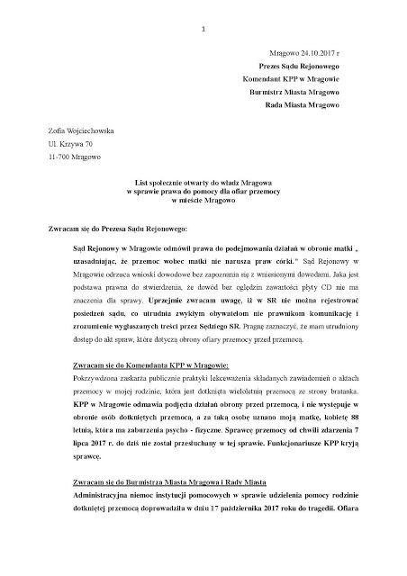 Zapiski Mazurskie: List społecznie otwarty do władz Mrągowa w sprawie...