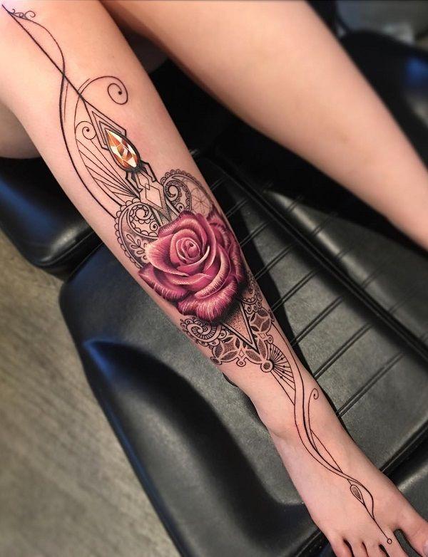 Flower with mandana calf tattoo - 50+ Amazing Calf Tattoos