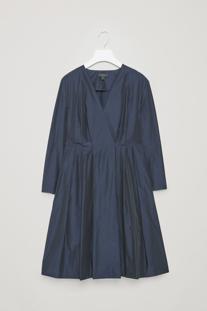 COS image 2 of Wrap dress with pleats  in Navy