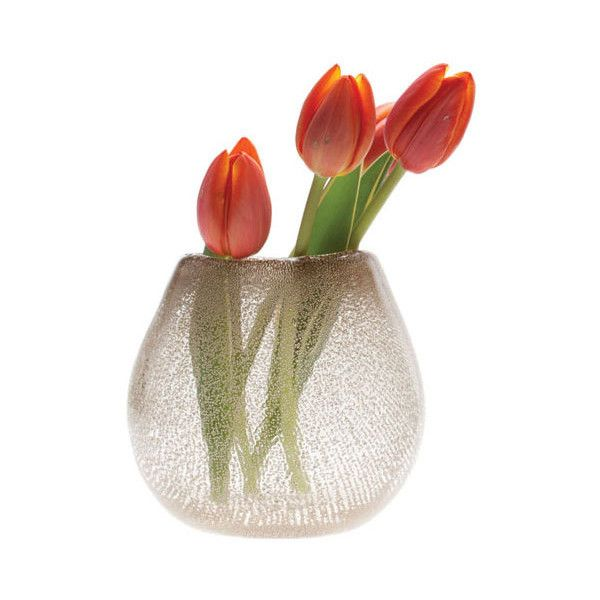 Dot & Bo Cava Glass Vase ($28) ❤ liked on Polyvore featuring home, home decor, vases, glass home decor, handmade glass vase, bubble vase, hand blown vase and bubble glass vase