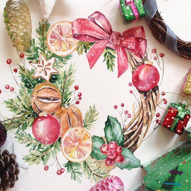 И ещё один анонс на сегодня  Последний свой мастер-класс в этом году я проведу в студии @drawteam.ru. 25 декабря с 14:00-17:00 приходите рисовать рождественский акварельный венок!  Занятие подходит для новичков, я очень подробно объясняю и показываю что к чему☺️ За три часа мы создадим акварельную композицию, которой вы сможете одарить своих близких Запись у организаторов @drawteam.ru, или по прямой ссылке в профиле!