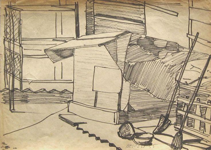E. Besozzi pitt. 1955 Interno di cortile pennarello su carta velina cm. 23x32,5 arc. 758