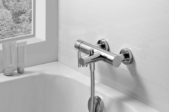 """El monomando de ducha Balance cubre las múltiples necesidades de un baño, Grifo de caño alto y largo para los lavabos de sobre encimera de borde alto y grueso, grifería empotrada en muro para los """"looks"""" más actuales, termostáticas para los sibaritas del baño/ducha, y automática para los espacios públicos."""