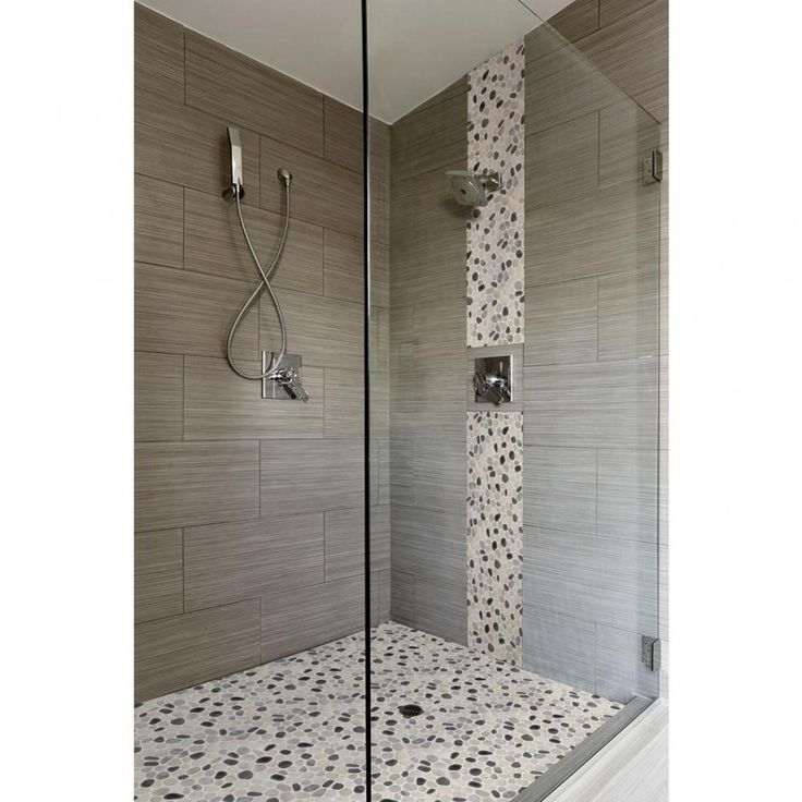 Wonderful Lighting In Closed Shower Room For Small Bathroom Remodel Ideas With Glass And White: Pebble Tile Shower, Grey Wood And Flooring Ideas