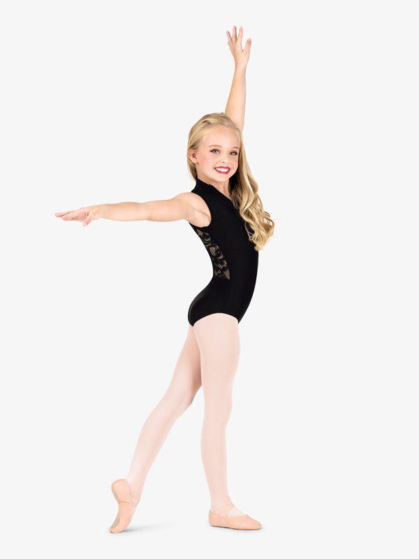 Dancina Girls Leotard Rhythmic Gymnastics Ballet Flutter Sleeve Full Front Lined