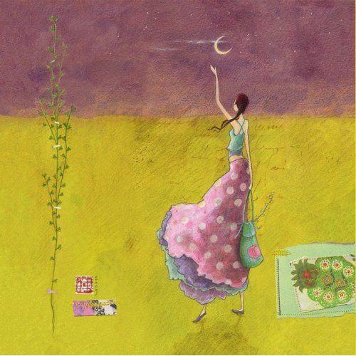 """Gaëlle Boissonnard square card (14 cm) """"Au revoir la lune"""""""