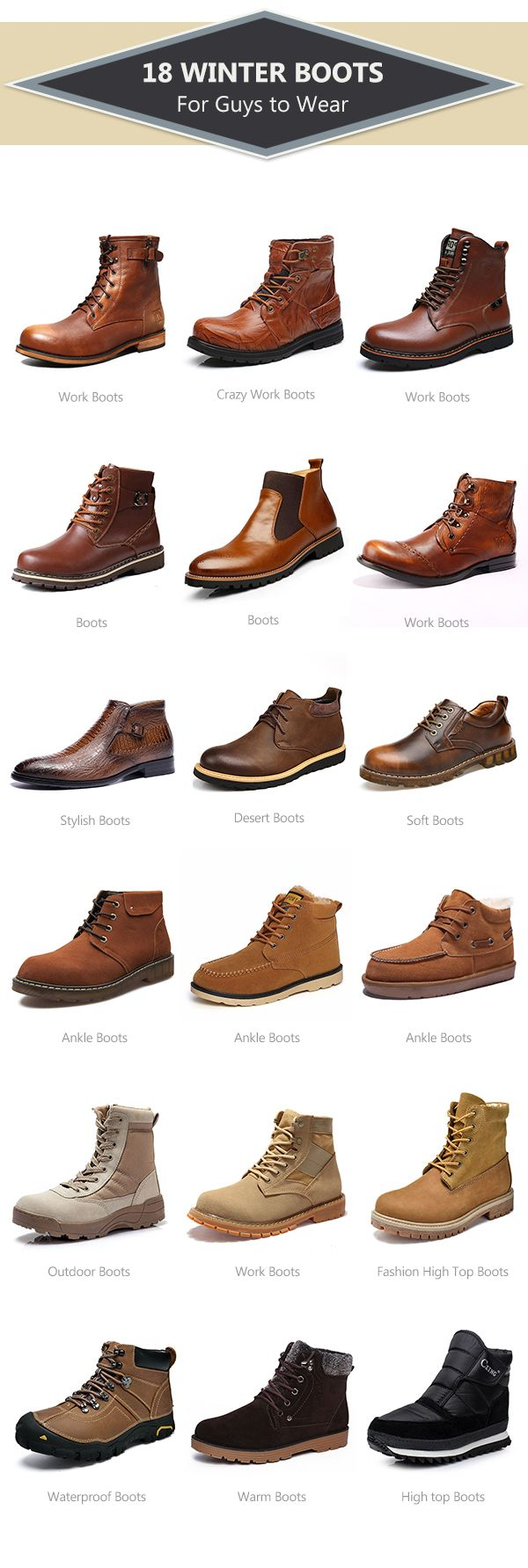18Winter Boots for Guys to Wear.How to wear in winter/fall outwork.Stock your closet with these. Plus examples.