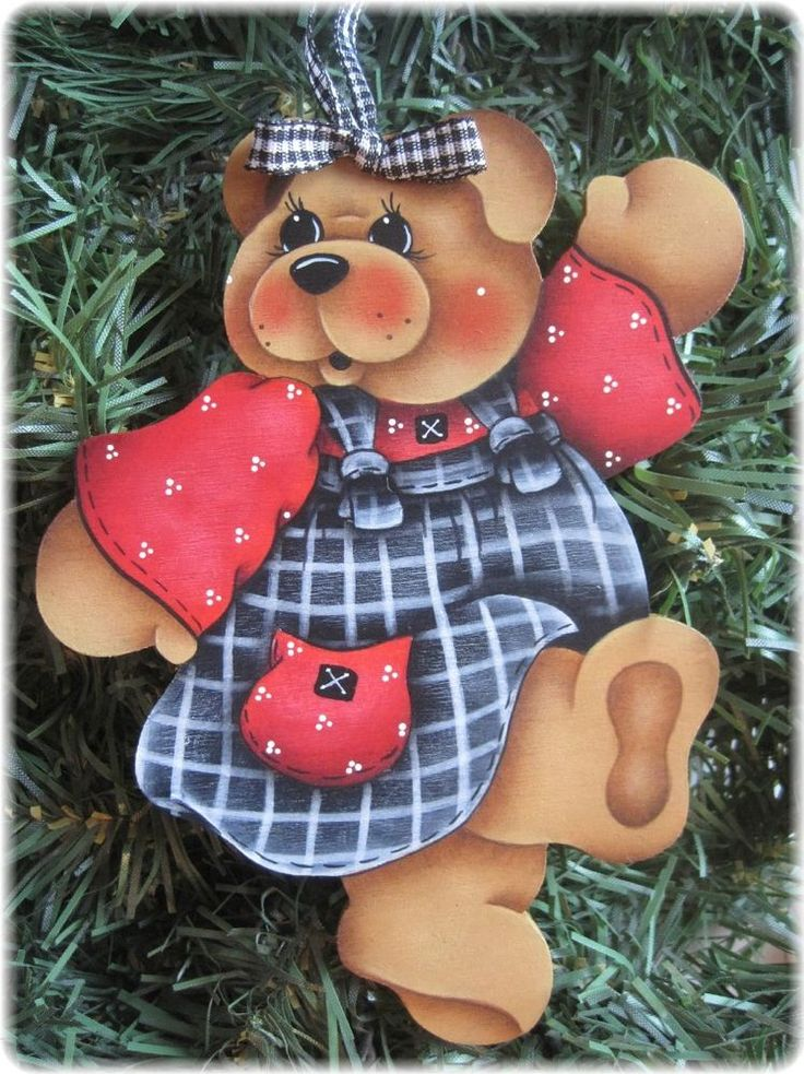 HP TEDDY BEAR Black, White and Red Dress ORNAMENT #Handpainted