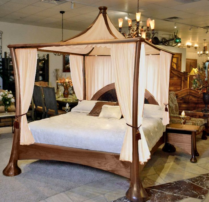 Contemporary Canopy Bed - Solid Walnut Bed - CBDJ0835