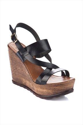 Hakiki Deri Siyah Dolgu Topuk Ayakkabı IZSCY4B09131420 inci 130