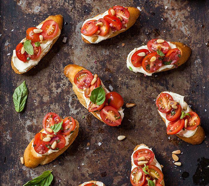 ME BEFORE YOU book club menu: Tomato and basil crostini   www.paperplatesblog.com