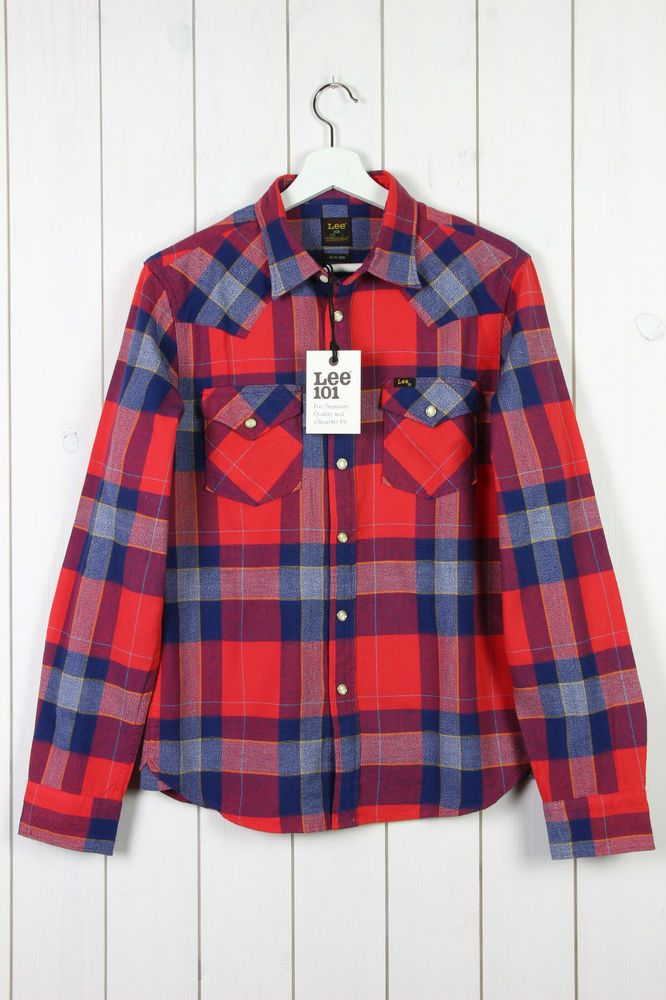 NEW LEE 101 WESTERN RIDER SHIRT SLIM FIT BARSTOW RED/BLUE CHECK S/M/L/XL/XXL