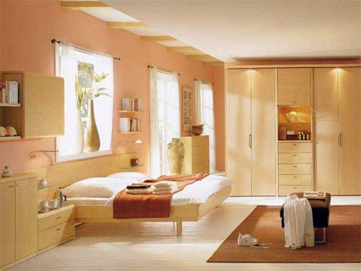 Bedroom Design, Alluring Soft Orange And Cream Plus Golden Trinkets Adore A  Beautiful Minimalist Bedroom Paint Colors Design Interior Schemes Also ...