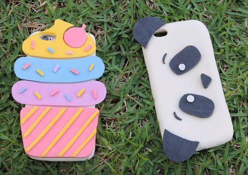 DIY Capinha para celular Panda e Cupcake feita de silicone e amido de milho.