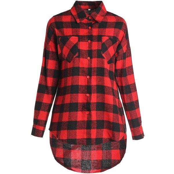 Stylish Shirt Collar Long Sleeve Plaid Asymmetrical Women s Shirt ($13) ❤ liked on Polyvore featuring tops, rosegal, long-sleeve shirt, plaid shirts, asymmetric top, red long sleeve top and long sleeve plaid shirt