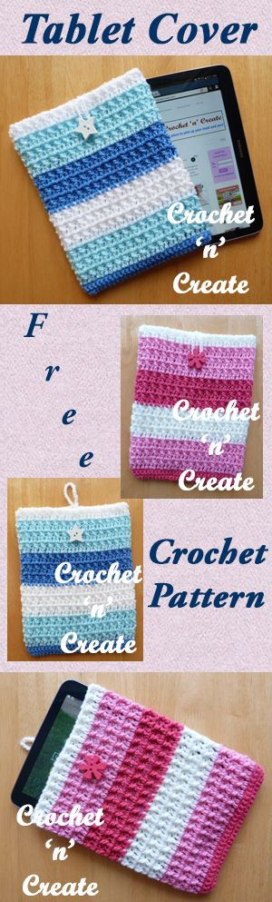 Tablet cover, free crochet pattern. #crochet