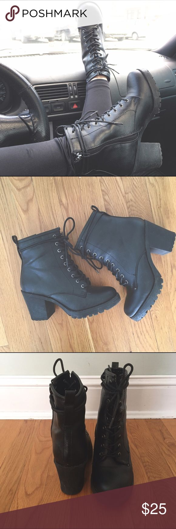 Heeled combat boots  Worn about 3 times- condition almost new. Comfy and cute with skinnies, leggings, shorts, a dress- anything. Shoes Combat & Moto Boots