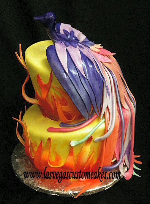 Beautiful phoenix cake bunches of bakery goodness for Gradas decoradas