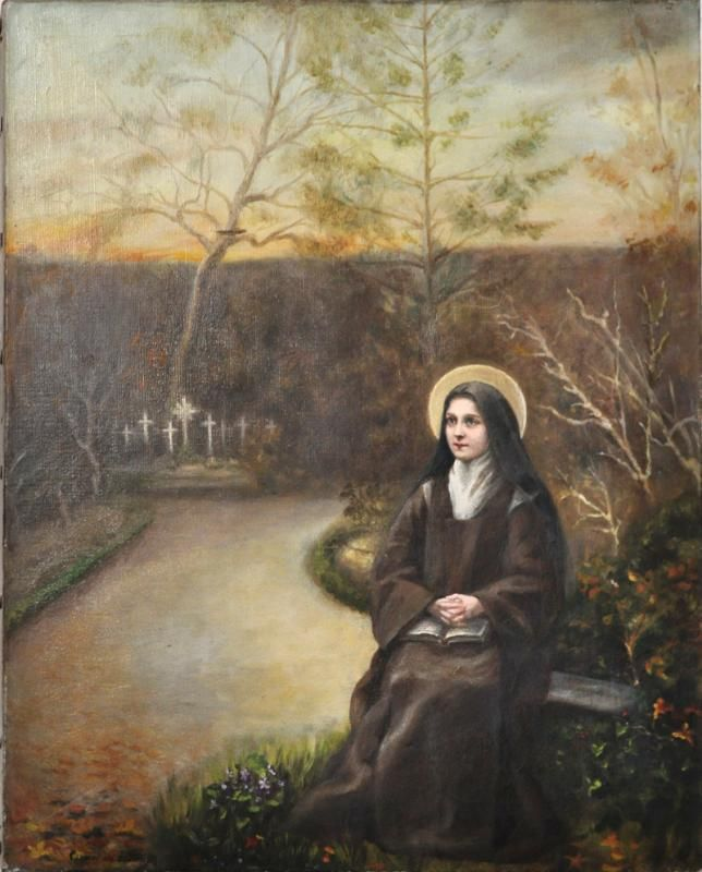 "Thérèse in the cemetery- without date – painting by Sr. Marie of the Holy Spirit, 33 x 41 cm. ""Based on a creation by Sr St Vincent de Paul, a Carmelite of Lisieux contemporary with Thérèse, who cut out a little photo of Thérèse (no. 9) to glue it on a photo of the alley leading to the cemetery in cloister. A sepia photo of the montage would be used as a gift photo for Léonie's profession in 1900."""