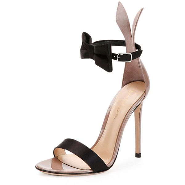 Gianvito Rossi Bow-Tie Ankle-Strap Bunny Sandal ($1,050) ❤ liked on Polyvore featuring shoes, sandals, heels, strappy high heel sandals, ankle strap sandals, black strappy sandals, strappy heel sandals and heeled sandals