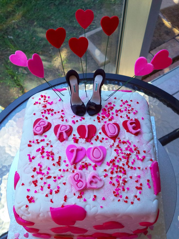Fondant covered chocolate Bachelorette cake with heart detail