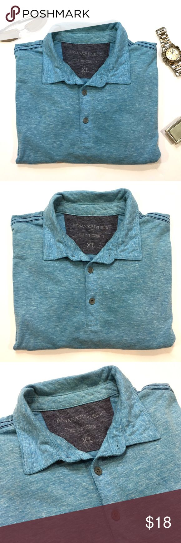 """Mens polo shirt by BANANA REPUBLIC - Size XL Men's short sleeve polo shirt by BANANA REPUBLIC. Size: XL. Color: Light Blue. Material: 50% Polyester, 38% Cotton, 12% Rayon. Pre-worn but in great shape. Retails for $55!  Measurements: Length - 30"""" Shoulder to sleeve - 9"""" Armpit to armpit - 23.5"""" Banana Republic Shirts Polos"""