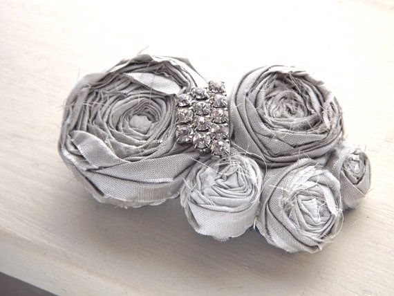 rosette fabric flower hair clip