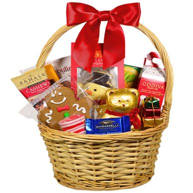 Festive and indulgent holiday gift basket. Sure to please anyone on your holiday shopping list.