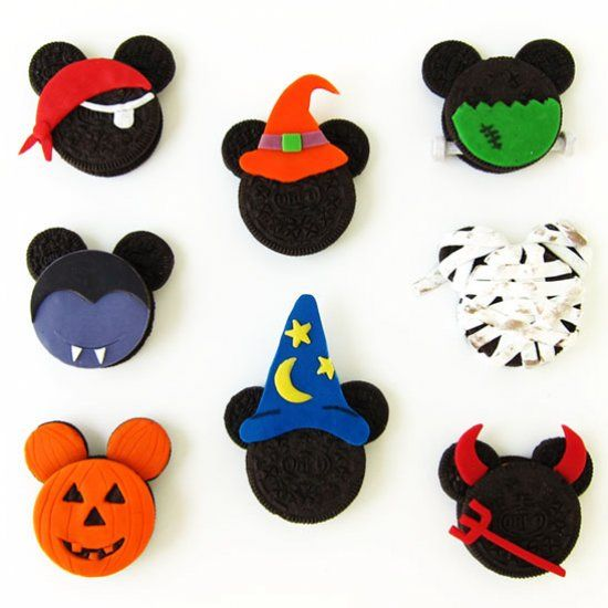 Halloween Mickey Mouse Oreo Cookies decorated with 2-ingredient candy clay.