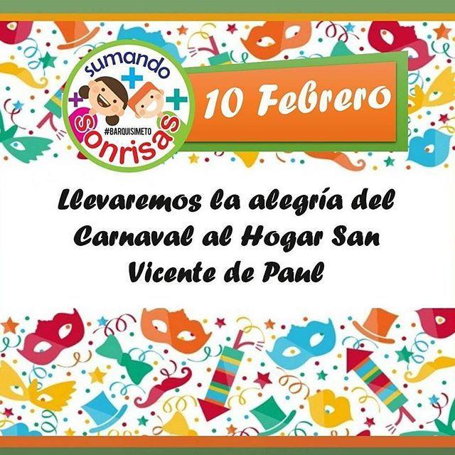 Vía  @sumandosonrisasbqto -  El equipo de @sumandosonrisasbqto estara visitando este sabado 10 de Febrero a las abuelitas del el Hogar San Vicente de Paul para llevarles un dia lleno de alegria sorpresas y diversion. . . Si deseas colaborar estos recolectando para esta actividad: Frutas y Alimentos no perecedos. . . Comparte y sumate a esta cadena de  solidaridad. . . #sumandosonrisasbqto #bqto #sumandosonrisas #sonrisas #carnaval #2018 #color #unete #sumate #solidaridad #alegria…