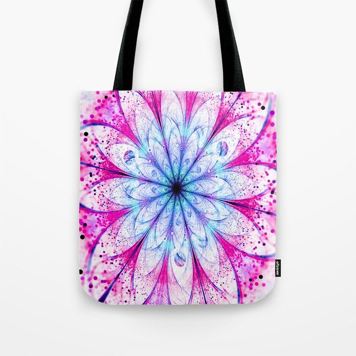 Winter Pink glittered Snowflake Tote Bag #OksanaAriskina  #Artworks #FineArtPhotography #HomeDecor #FineArtPrints #FineArtAbstract #Fractal #Abstract #ArtForSale #Snowflake #Christmas #Pink #Flower #Bokeh #fractal #totebag #bag