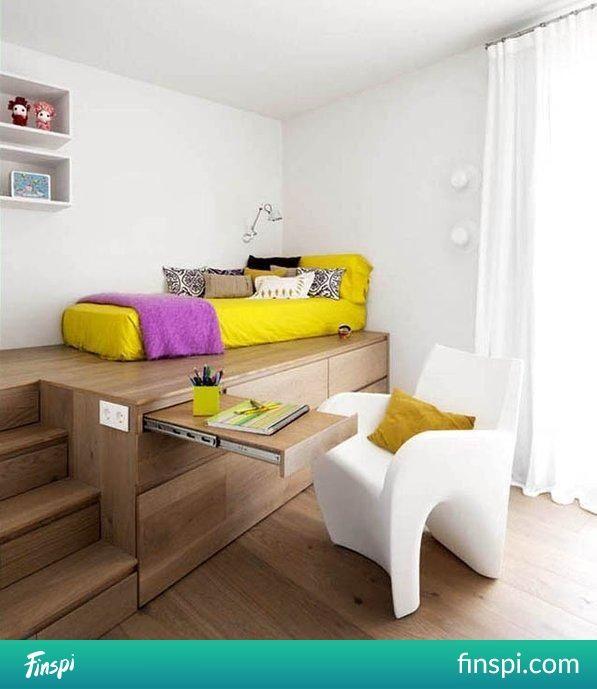 Podest - sposób na zaoszczędzenie miejsca w pokoju :) #wnętrze