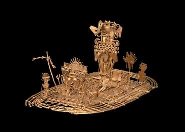 The Muisca Raft (Museo del Oro, Bogotá). This object, made of gold between 1200 and 1500 AD, is the most significant remaining piece of the Muisca people, who populated the regions near Bogotá in pre-hispanic times. It depicts the investiture ritual of the new chieftain: covered with gold jewels and emeralds, the new chieftain would dive into the Guatavita lake after his coronation. Spanish chroniclers saw in this a true manifestation of the legend of El Dorado.