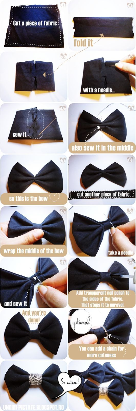 ♥ C.L.M.'s Nail Art Blog ♥: DIY: Cute bow tie with chain/ Cum sa faci un papion (pas cu pas)?
