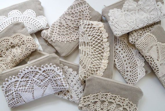 Set of 8 Burlap Clutch Vintage Doily Rustic Wedding by JuneberryStitches,