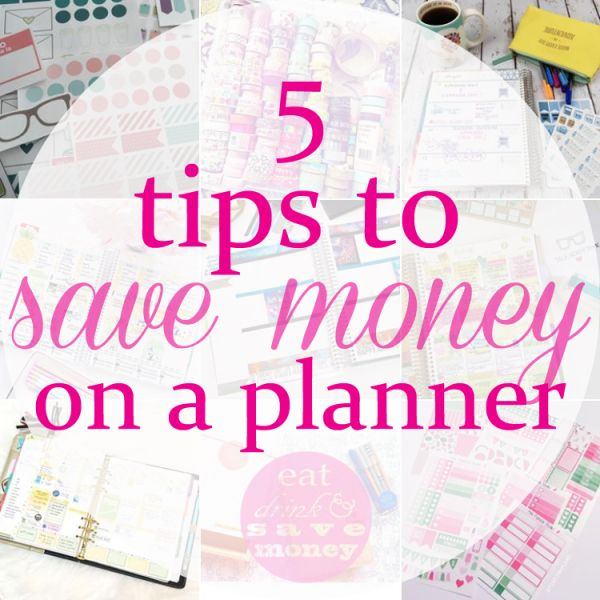 5 tips to save money on a planner.  Save money on Erin Condren Life Planners, Day Designers, Plum Paper, and The Happy Planner.  You just have to follow a few simple tricks! | Eat, Drink and Save Money