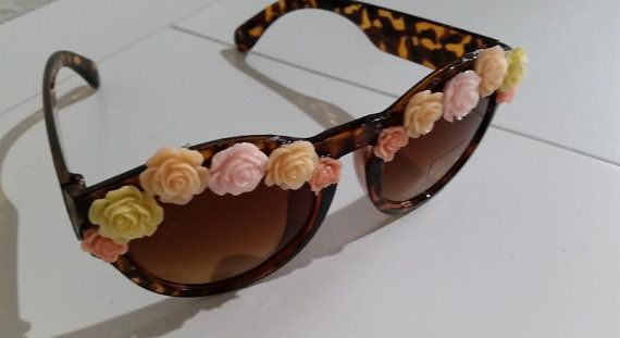 Selection of  Sunglasses with Flowers by CreativeHolmez on Etsy