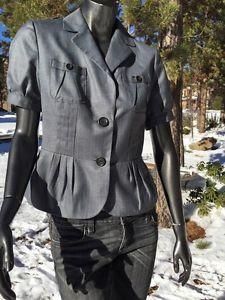 Banana Republic Grey Peplum 2 Button Short Sleeve Wool Silk Jacket Top Mint    eBay