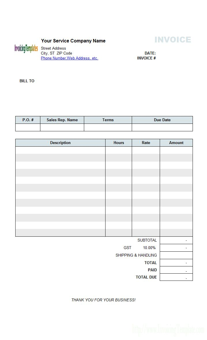 Hourly Service Billing Statement