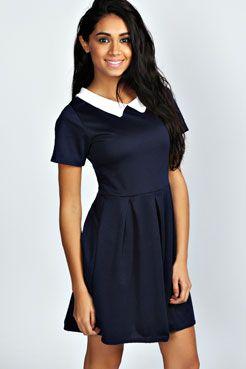 Felicity Contrast Collar Skater Dress