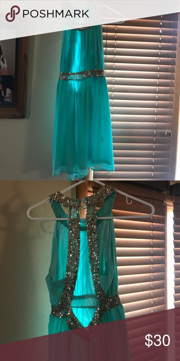 Formal dress Mint green with gold embellishments short formal dress. Size M. Bought from online boutique store. Missing hook loop for one of the buttons. Red Clover Dresses Backless