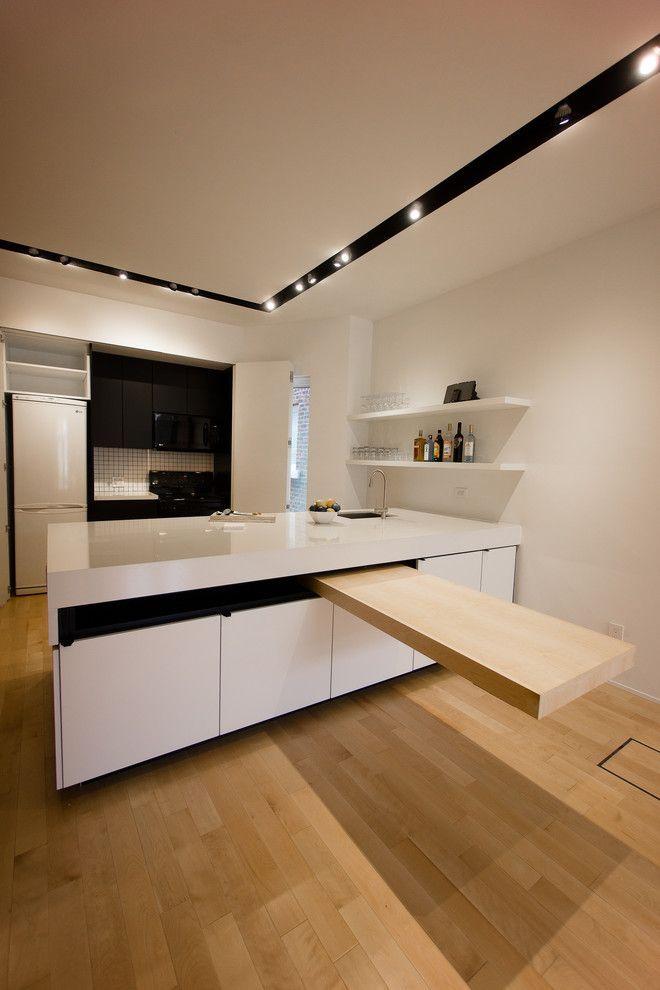 Раскладные столы для маленькой кухни: как оптимизировать кухонное пространство и обзор наиболее удобных современных моделей http://happymodern.ru/kuxonnye-stoly-raskladnye-dlya-malenkoj-kuxni/ Выдвижной стол из кухонного острова на кухне в стиле минимализм Смотри больше http://happymodern.ru/kuxonnye-stoly-raskladnye-dlya-malenkoj-kuxni/