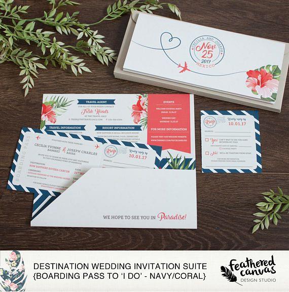 Destination Wedding Invites with RSVP Perforation Boarding