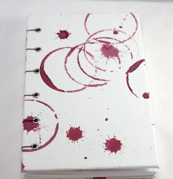 Watercolor wine stained blank book, handpainted, journal, sketchbook, wine log, oenophile, pinot noir, wino, red wine, coptic bound – no. 56 on Etsy, $19.00