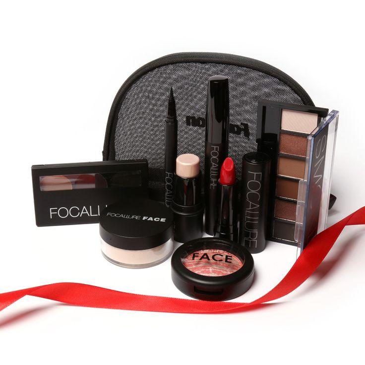 FOCALLURE Makeup Tools Set 8Pcs Lip Kit Must Have Cosmetics Including Eyeshadow Lipstick With Makeup Bag